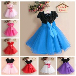 8 Color Baby Girls Lace paillette flower bowknot Dress 2018 new princess Kids Clothing fashion Short sleeve Lace Flowergirl Wedding dress