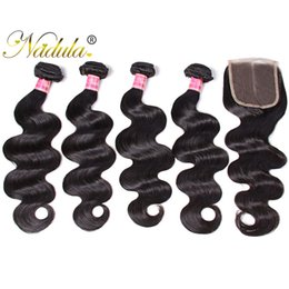 Nadula Peruvian Body Wave Human Hair Bundles with Closure 4Bundles With 1 Lace Closure Virgin Hair Extensions Unprocessed Human Hair Wefts