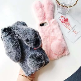 Elegant Rex Rabbit Hair Lovely Carton Soft TPU Touch Warm Fur Case Bling Plush Furry Women Girl Lady Cover For iPhone XS Max XR X 8 7 Plus 6