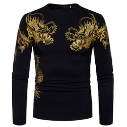 Mens Long Sleeve Shirt For Dragon Printing 2018 New Fashion Black Casual Pullover T Shirt Drop Shopping