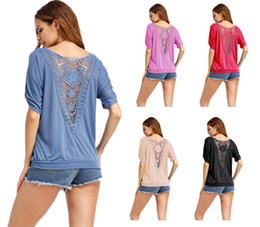 Back panel stitching openwork lace round neck loose plus anti-sleeve T-shirt top