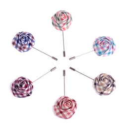 Fashion Mens Brooches Floral Lapel Pin Brooches Rose Flower Suit Wedding Party Flower Short Pin Brooches 6 colors availab 100 pieces  lot