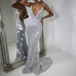 Luxury Backless Mermaid Evening Dresses Ellie Saab Sleeveless Sweep Train Prom Dresses Sparkly Sequins Dubai Celebrity Party Prom Dress