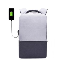 Men Laptop Backpack For 15.6 inch USB Charging Backpacks Computer Anti theft Bags Male Gray Daypack Women Mochila