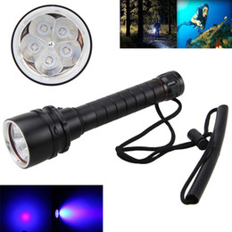 Free shipping 2018 New 395nm-405nm Diving Underwater 15W 5 Pc UV LED Dive Scuba Flashlight 2x18650 Torch