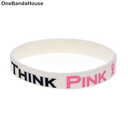 Wholesale Drop Shipping 100PCS Lot Think Pink Silicone Wristbands For Breast Cancer Awareness Pink Ribbon Bracelet