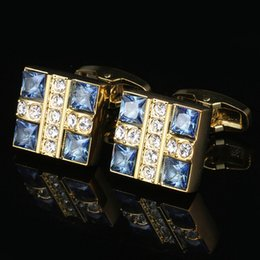 Blue Crystal Shirt Gold Men's Cuff Necklace Wedding Cufflinks European and American Business Cufflinks Free Shipping