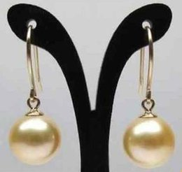 9-10mm Natural South Sea Gold Pearl Earrings 14k Gold Accessories