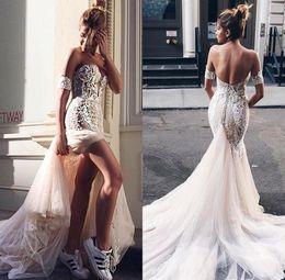 Vintage Split Mermaid Wedding Dresses 2018 Lace Applique Sweep Train Country Beach Wedding Dress Bridal Gowns