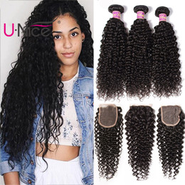 UNice Hair Raw Indian Curly Wave Hair 4 Bundles With Closure 100% Human Hair Extensions Curly Weave Bundles With Lace Closure Wholesale Bulk
