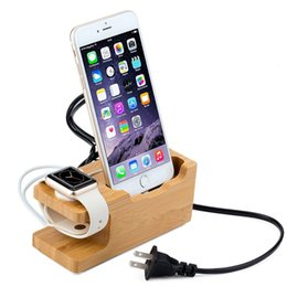 Smartphone Charging Dock Station For Apple IPhone & Android Bamboo Wooden Stand Holder with Charger For Apple Watch Stand