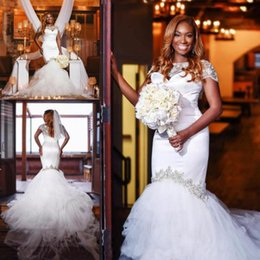 Illusion Bodice African Mermaid Wedding Dresses Bateau Neck Cap Sleeve Court Train Crystal Beaded Long Chapel Garden Bridal Gowns Plus Size
