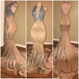 Silver Gold Champagne Prom Dresses Mermaid Sexy Backless Halter Neck Formal African Black Girls Evening Dress Pageant Gowns