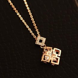 Hollow Out Square Pendant Neckalce for Women 18K Gold Plated Choker Necklace Fashion Jewelry Korean Bijoux 2016