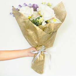 High Grade Electroplating Silk Paper Flowers Gift Bouquet Packaging Paper Materials Wedding Decoration Supplies 20pcs lot haif