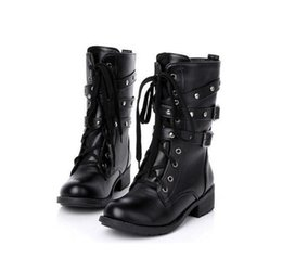 pu+ genuine leather fashion boots women Lace-UP rivets square heels autumn winter ankle boots sexy martin shoes