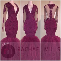 2018 Burgundy African Mermaid Long Sleeves Prom Dresses Sexy V-neck Appliques Ruffles Tiered Party Reception Evening Dress Sweep Train
