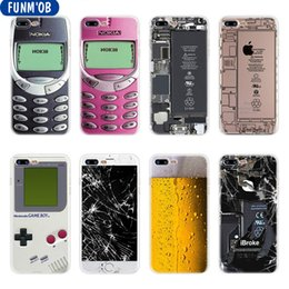 Soft Clear TPU Case Cover for iPhone 6 6S 7 8 Plus 5 5s SE X Beer Nokia Phone Battery Broken Screen Coque