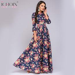 2018 Floral Russe Robes Longues Femmes Mode Fleur Imprimer Longue Robe  Bohème Style Straigt O,Neck Robe,parole
