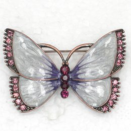 Wholesale Crystal brooch Rhinestone Enameling Butterfly Brooches Fashion Costume Pin Brooch Jewelry gift C866