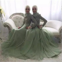 Elegant 2017 Lace And Tulle Muslim Bridesmaid Dresses Long Jewel Long Sleeves Ruched Floor Length Maid Of Honor Gowns