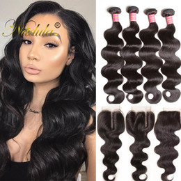 Nadula Hair Brazilian Body Wave 3 Bundles With Lace Closure Brazilian Virgin Hair Extensions Remy Human Hair Weaves Closure Wholesale Cheap
