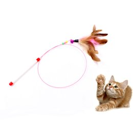Cat teaser funny kitten pet toy turkey feather toy interactive stick wire chaser multi color pet supplier cat toy purr