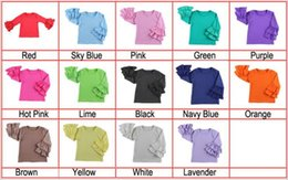 Baby girls clothes wholesale children t-shirt raglan sleeves double ruffle tops