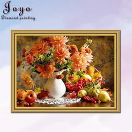 Joyo, DIY full diamond cross stitch, fruits and flowers, home decor, restaurant decor, beautiful vases,