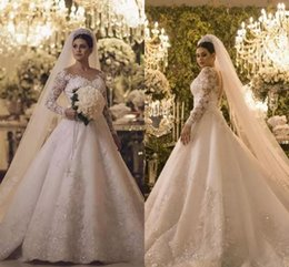 2018 Danymizrachi Gorgeous Long Sleeves Wedding Dresses Sparkly Crystals Beaded A Line Tulle Bridal Gowns Illusion Back Vintage Wedding Gown