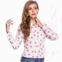 European and American large size dress shirt Lapel long sleeved red lips white bottom black Pentagram single row button Chiffon girl shirt