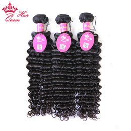 "Queen Hair Products Brazilian Virgin Hair Weft 3pcs lot 12""-28"" Curly Virgin Human Weave Deep Curly wave Virgin Hair"