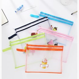 Mesh Zipper Pouch A4 Size Double Layer Bags Clear Zipper Pouch Small Organizer bag Zipper Folder Cosmetic Bags Travel Storage pouch Ice