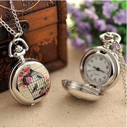 Classic Vintage Antique Pocket Watches With Long Chain Bird Cage Sliver Color Unisex necklace Watch Gift