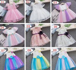 INS summer NEW Girls Rainbow tutu dress princess fairy dress baby kids sleeveless stereo flower mesh lace patchowrk girl Dresses 16 colors
