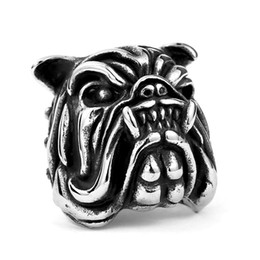 New Men's Stainless Steel Bulldog head Ring European and American Fashion 316L Titanium Steel Rings Jewelry Gift
