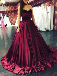 2018 New Vintage Burgundy Quinceanera Dresses Ball Gown Sweetheart Sleeveless Lace Appliques Sweep Train Sweet 16 Prom Evening Gown BA7771