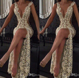 Full Lace Split Prom Evening Event Dresses 2019 Champagne Sexy Plunging V Neck Illusion Cutaway Sides Long Celebrity Gowns