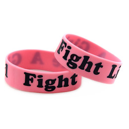50PCS Lot 1 Inch Wide Bangle Breast Cancer Awareness Wristband Fight Like A Girl Silicone Bracelet Promotion Gift