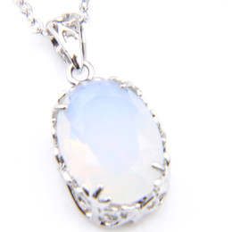 6 Pcs   lot Women Pendants Classic Oval Antique Natural White Opal Gemstone 925 Silver Holiday Gift Pendant Jewelry +Chain