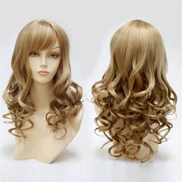 18 Inch Sexy women Fashion wig Long Curly Wave Hair Wigs for Women Light Brown Curly None Lace Front Wig(Color:Light Brown)