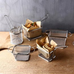 Stainless steel food, large fries, snack basket, mini decorative plate, Fried basket, French fries basket, 5 pieces set