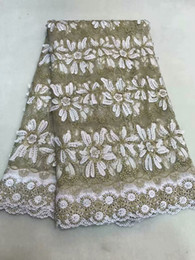 Free shipping 5 yards New African French Tulle Net Lace stones Fabric Fashion Nigerian Wedding African Lace Fabrics For Dress