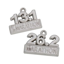 Fashion Rhodium Plated Alloy 13.1 26.2 Marathon Charms For Runner 15*19mm 50pcs AAC841