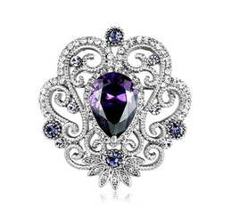 Purple Zirconia Brooch Victorian Style White Gold Tone Crystal Brooch Pins 4 Color Available