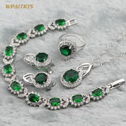 Green Women Wedding Jewelry Sets - Wholesale Round AAA Zircon Silver Plated Necklace Stud Earrings Ring Bracelet For Women Size 6-10