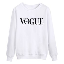 Hot commodity 2018 Dominant trend Women's pure color comfortable fleece O-NECK fashion VOGUE letter print in chest