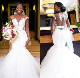 Plus Size 2020 Beaded Tulle Mermaid African Wedding Dresses Sheer Neck Lace Appliques Sheath Wedding Gowns Open Back Formal Bridal Dresses