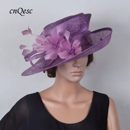 Sinamay hat formal dress Hat with feather flower for kentucky derby.Royal,purple,beige and black color.