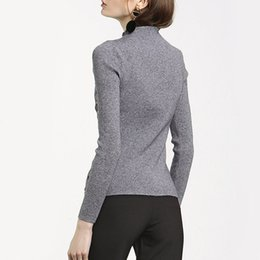2017 Europe and the United States autumn and winter new women's solid color self-cultivation knit sweater fashion buttons long-sleeved sweat